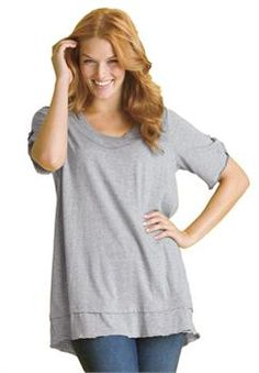 Plus Size Top in mega tunic knit with layered look