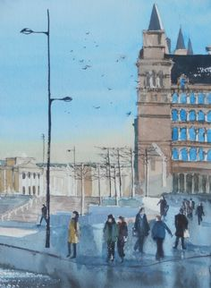 People arriving at Lime Street Station at the start of the working day on a fresh morning after a shower with St Georges Plateau seen in the distance.