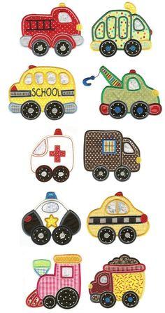 Fire Truck Applique Machine Embroidery Designs | Designs by JuJu