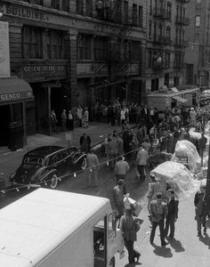The film set in front of 128 Mott Street in New York's Little Italy. Unauthorized photos from the heavily guarded set of 'The Godfather'