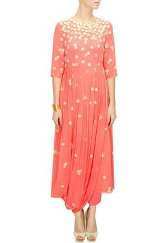 Coral floral work drape kurta with pants available only at Pernia's Pop-Up Shop.