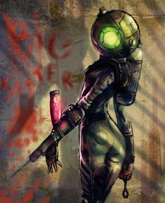 Big Sister Bioshock Art Those scared me into a corner when I first faught them Bioshock 2, Bioshock Infinite, Bioshock Artwork, Bioshock Rapture, Bioshock Series, Video Game Art, Video Games, Underwater City, Funny Tattoos