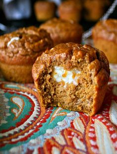 Very simple Pumpkin Cream Cheese Muffins!!  Perfect for that fast and slightly-guilty fall breakfast
