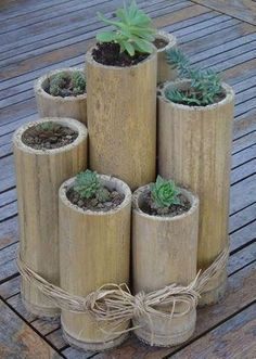 Bring some nature into your life with this zen decorating idea: 7 bamboo stalks . - Bring some nature into your life with this zen decorating idea: 7 bamboo stalks cut at varying heig - Diy Bamboo, Bamboo Planter, Bamboo Poles, Bamboo Crafts, Bamboo Ideas, Bamboo Garden Ideas, Bamboo Fencing, Bamboo Containers, Succulents In Containers