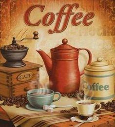Coffee anyone ? I Love Coffee, Coffee Art, Coffee Shop, My Coffee, Coffee Break, Kitchen Art, Kitchen Decor, Vintage Cafe, Decoupage Vintage