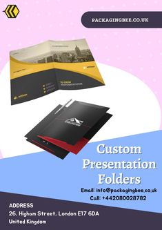 Custom file Folder which made document safe and easy to assess. Get Custom file folder at wholesale pricing in the Uk. Our is service best all over the Uk. #customfilefolder #customcheapsfolder #CustomPrinting #WholesalePresentationFolders #WholesaleCustomPresentationFolders #CustomPackagingServices #CustomLogoBoxes #CustomPackaging #CustomPresentationFolders #PresentationFolders Packaging Services, Custom Packaging, Custom Presentation Folders, Document Safe, File Folder, Custom Logos, About Uk, Easy, Prints