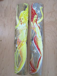 Two Colorful Fantasy Mermaids Hand Painted by BlueMermaidofRincon