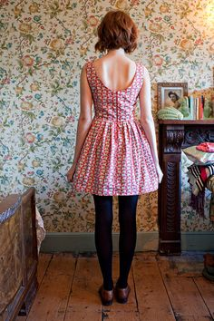 The 'Foxglove' Party Dress With Low Back & Full Skirt Made From Fox Print Organic Cotton. £130.00, via Etsy.