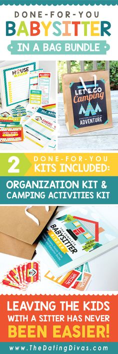 Our babysitter activities for kids kits provide everything you need to communicate with your babysitter PLUS fun activities for kids to do while you are out! www.TheDatingDivas.com