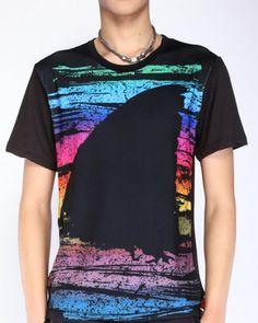 50ede4006829e Colorful striped graffiti t shirt for men shark design tee plus size