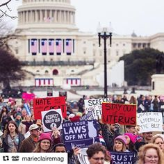 """Powerful action on the first day of Trump administration. #Repost @marieclairemag with @repostapp  Hundreds of thousands of people are gathered in D.C. today (and nearly 1 million more around the globe) in a powerful display of support for women's equality. CNN's @sallykohn is on the ground and taking over our feed: """"It's packed"""" she says of the crowds seen here. """"There are pink pussy hats everywhere and an inspiring energy that half this country desperately needed."""" To read her…"""
