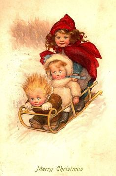 Sledding Fun - Christmas Past - Susan Beatrice Pearse vintage postcard