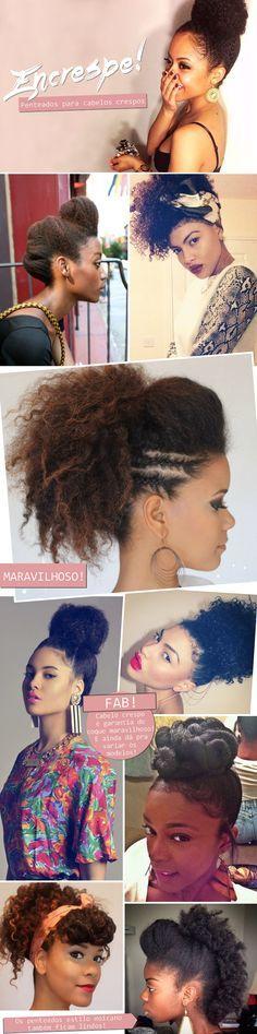 Penteados para cabelos crespos | Natural Hair | Hairdo | More on http://www.cademeuchapeu.com/penteado-crespas