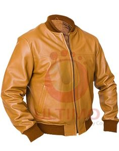Safari Brown Tan Bomber Leather Jacket  Those who love the bomber style jackets are sure to enjoy this tan leather safari jacket. The style is simple, yet sophisticated while the color is rich and vibrant. If you are bored with traditional colors of leather jackets, such as black and dark brow