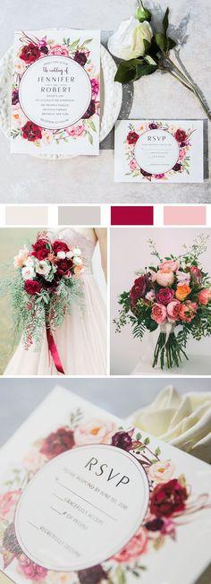 Burgundy and Pink Floral Bloom Boho Wedding Invitations EWI421#weddinginvitations#ElegantWeddingInvites