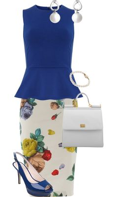 Blue peplum top/shoes + white background floral skirt + white accessories I need that skirt! Because I totally have a blue peplum shirt like that with cap sleeves:)