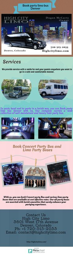 To party hard and to party in a lavish way, you can Book party limo bus Denver with us. Our company carries a wide collection of well maintained and luxury limo party bus.