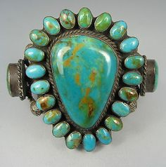 Vntg Huge Navajo Turquoise Cluster Statement Bracelet in Jewelry & Watches, Ethnic, Regional & Tribal, Native American | eBay