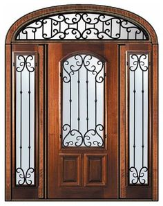 Valencia mahogany door, Side lights, & Transom by Glass Craft  $7,275.