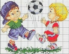 Boys playing football Cross Stitch Chart