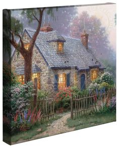 """Are you a Fan of Thomas Kinkade? You'll LOVE the large selection of Thomas Kinkade Cottage Puzzles. These jigsaw puzzles for adults are inspired by the artwork of """"The Painter of Light"""" Thomas Kinkade. Belle Image Nature, Thomas Kinkade Art, Kinkade Paintings, Oil Paintings, Thomas Kincaid, Art Thomas, Cozy Cottage, Forest Cottage, Garden Cottage"""