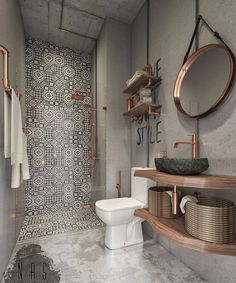 Steampunk Bathroom by Nas Studio. Tag a friend who needs some bathroom inspirati… Steampunk Bathroom by Nas Studio✨. Tag a friend who needs some bathroom inspiration! Bathroom Design Small, Bathroom Interior Design, Decor Interior Design, Bathroom Designs, Diy Interior, Bath Design, Tile Design, Studio Interior, Design Kitchen