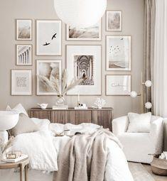 Elegant gallery wall beige bedroom nature posters oak frames - Gallery wall inspiration - Posterstore.com Room Ideas Bedroom, Home Decor Bedroom, Bedroom Wall, Living Room Decor, Beige Walls Bedroom, Beige Bedrooms, Beige Room, Bedroom Posters, Bedroom Inspo