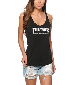Cut with a soft-feel tri-blend construction for a comfortable wear, this racerback tank top flaunts a Thrasher Magazine graphic at the chest.