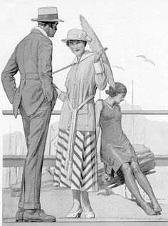 Fashion plate illustrating beach wear for women and men around 1920.