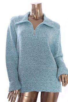 KAREN SCOTT Womens New Marled Turtleneck Zip Front Knit Cable Sweater Size XL #KarenScott #TurtleneckMock