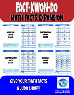 Fact-Kwon-Do Math Facts Expansion - Student Monitoring & Math Facts Learning System from Velerion-Damarke from Velerion-Damarke on TeachersNotebook.com (87 pages)  - FACT-KWON-DO is a classroom monitoring tool that can be used at any grade level and for any subject.