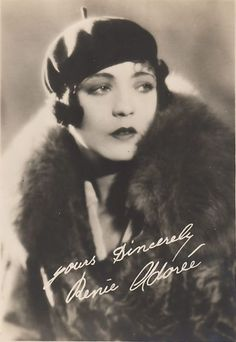 """mote-historie: """"Renée Adorée - 1920's - French actress who appeared in Hollywood Silent Movies during the 1920's """""""