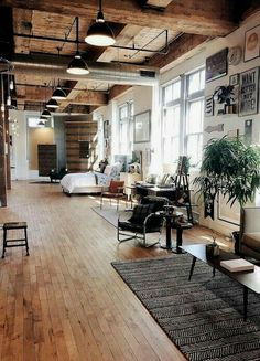 n industrial loft design was meant for an artist and it combines the best of both worlds. A living area and a workshop. This industrial interior loft is a wonde Loft Industrial, Industrial Interior Design, Home Interior Design, Industrial Lighting, Industrial Bedroom, Modern Interior, Rustic Loft, Industrial Apartment, Industrial Interiors