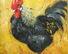 Gallo 508 10x10inch impresión de pintura al óleo por Roz