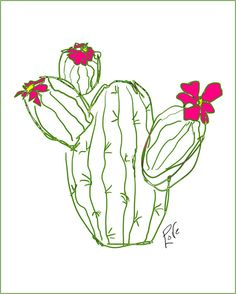 Cactus Art 8 x 10 inch Colorful Drawing Illustration Whimsical Art - Peggy Love