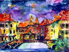Night Over Annecy Painting