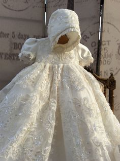 Details about White Ivory Vintage Toddler Christening Outfits Baptism Dress Gown Sequin Bonnet - Crochet patterns - Lace Christening Gowns, Christening Outfit, Baby Girl Christening, Baptism Dress, Baptism Outfit, Blessing Dress, Baby Blessing, Little Girl Dresses, Baby Dress