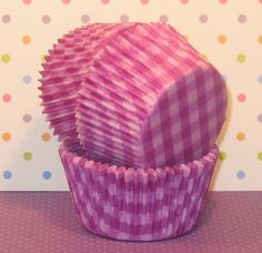 Purple Gingham Checked Cupcake Liners (Qty 40)