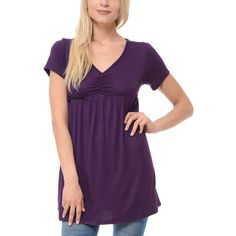 Magic Fit Purple Ruched Empire-Waist Tunic ($17) ❤ liked on Polyvore featuring tops, tunics, shirred top, ruched top, ruched tunic, stretchy tops and empire waist tunic
