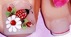 Decoración de uñas mariquita🐞 y margarita🌼/Diseño de uñas mariquita/uñas decoradas con margarita – Manicuravip.com Toe Nail Flower Designs, Nail Polish Designs, Nail Art Designs, Gel Toe Nails, Toe Nail Art, Manicure And Pedicure, Pretty Toe Nails, Love Nails, Fun Nails