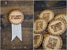 words with wings - badges for bridal party Cnc Projects, Wedding Stationary, Love And Marriage, Wedding Decorations, Wedding Ideas, Rosettes, Laser Engraving, Laser Cutting, Bridal Shower