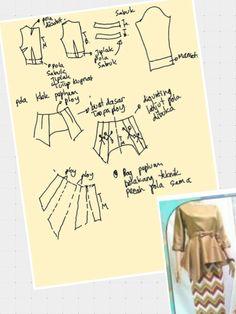 Sewing Art, Dress Sewing Patterns, Blouse Patterns, Kebaya Peplum, Kaftan Pattern, Sewing School, Make Your Own Clothes, Pattern Drafting, Sewing Clothes