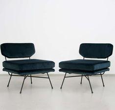B.B.P.R.; Enameled Metal Frame 'Elettra' Lounge Chairs for Arflex, c1953.