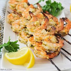 This easy Grilled Pesto Shrimp Skewers recipe is light, low carb and gluten-free! It is the perfect summertime meal and you'll fall in love with its amazing flavor! Pesto Shrimp, Shrimp Skewers, Lemon Cheesecake, Pumpkin Puree, Pumpkin Pancakes, Smoothie Recipes, Cookies Et Biscuits, Cookie Recipes, A Food
