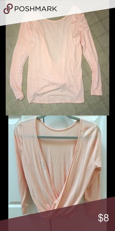 TOBI Twisted Back Top This pale pink twisted back top is perfect for a night out where you can keep your arms warm but show some skin in the back;) Size medium. 95% modal and 5% spandex. Worn once. Tops Tees - Long Sleeve