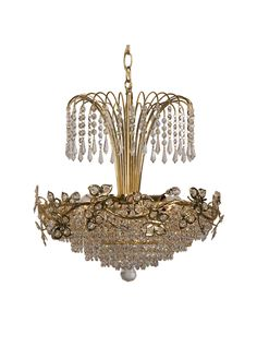 French Neo Empire Style Vintage Gilded Erflies Chandelier With Crystal Drops Circa 1970