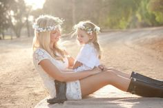 mother daughter sunset picture flower crowns