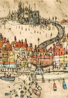 Gallery — Clare Caulfield - UK Artist and Printmaker Seaside Pictures, New York Canvas, Boat Drawing, Whitby Abbey, Canvas Prints, Art Prints, Map Art, Architecture Art, Printmaking