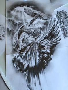 Tattoo Design Drawings, Tattoo Sleeve Designs, Sleeve Tattoos, Zeus Tattoo, Forarm Tattoos, Cool Forearm Tattoos, Religious Tattoo Sleeves, Greek Mythology Tattoos, Roman Mythology