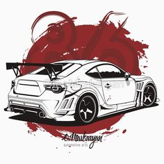 """Monochrome design """"Toyota Scroll right. T-shirts, covers, stickers, posters - already available in my store on Link in bio. I accept orders for automotive arts. Subaru, Cool Car Drawings, Toyota 86, Car Illustration, Japan Cars, Car Posters, Automotive Art, Car Pictures, Storm Pictures"""